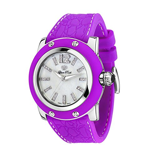 Glam Rock Women's Summer Time 46mm Purple Leather Band Steel Case Quartz White Dial Analog Watch GR30021PF