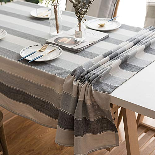 Lahome Stripe Tablecloth - Water Resistant Heavy Weight Cotton Linen Table Cover Kitchen Dining Room Restaurant Party Decoration (Gray, Rectangle-53 x 86