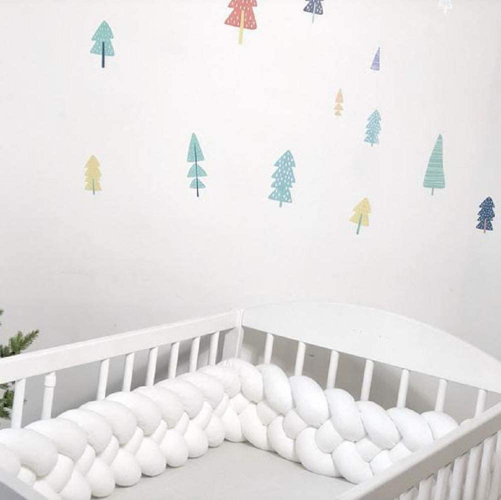White 176 inch Baby Crib Bumper Plush Knotted Braided Bumper Handmade Soft Knot Pillow Sleep Safety Nursery Cradle Decor Newborn Gift Crib Protector 4 Strands