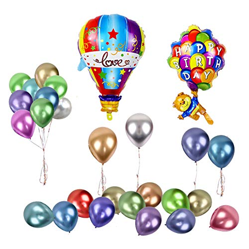 Sharlity Happy Birthday Party Balloons Set - Happy Birthday Bear Parachute and Hot Air Aluminium Foil Balloon,Assorted Colors latex Balloons for Kids Gift Birthday Party Decoration -
