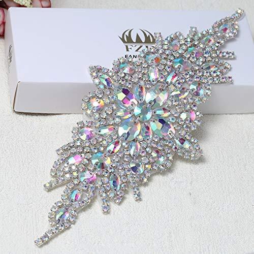 - Rhinestone Applique for Wedding Dress Belt Embellishment (AB Colorful)