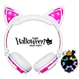 #9: Bonwayer Kids Headphones with Cat Ear Adjustable LED Lights Wired On-ear Rechargeable Headsets 85dB Volume Limited 3.5 mm Jack for Children Halloween and Christamas Gift(Pink)