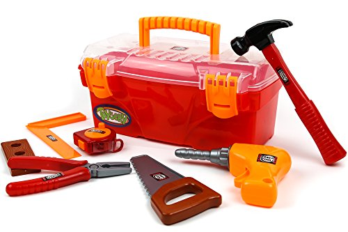 Toysery 24 Pieces Complete Kids Toy Tools Set - Fun Tool Box Kit For Kids, Toddlers with Handy Lightweight Suitcase - Educational Toy and Best Gift Idea - Kid Kit Box