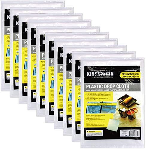 KINGORIGIN 10 Piece Drop Cloth Sheet,Plastic Drop Cloth,for Paint Rollers,Painters 9x12Feet 90004A,Home Repair Tools,Tools