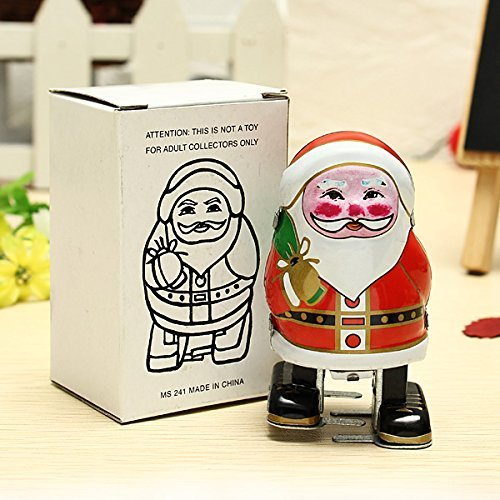 New Vintage Wind Up Tin Toy Clockwork Spring Santa Claus Classic Retro - Tin Santa Claus