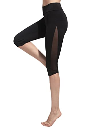 894543fc86f SweatyRocks Women s Mesh Panel Capri Leggings Workout Yoga Running Crop  Pants (Small