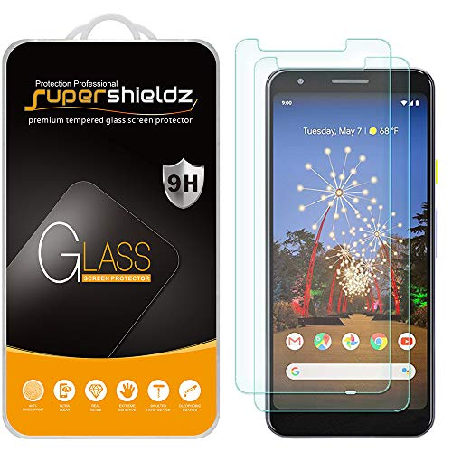 (2 Pack) Supershieldz for Google (Pixel 3a) (Updated Version) Tempered Glass Screen Protector, Anti Scratch, Bubble Free (Best Glass Screen Protector Google Pixel)