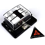 AFTERPARTZ 12~32V 100A Blade Fuse Block Holder Terminals Circuit Auto Car Fuse Block Box LED Indicator PC Cover With Wire Crimp Terminal & Symbol Sticker (6 Way)