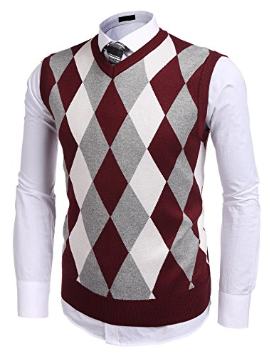 Cnlinkco Mens V-Neck Pullover Fitted Casual Business Cotton Blend Argyle Sweater Vest (L, Wine Red) Cashmere Argyle Sweater