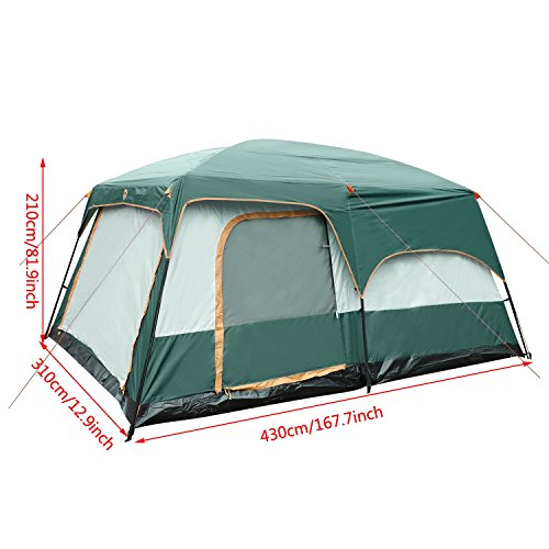 Large Family Camping Tent, Ferty Camping Equipment Tents 10 Person, Family Camping Tents 2 Room and 1-Living Room with Rainfly Shelter for Outdoor Camping/Hiking by ferty
