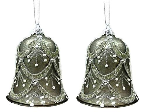 Pair! Christmas Glass Bell Shaped Ornaments in Your Choice of Gold or Silver (Silver)