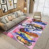 Tsavm Large Carpet for Bedroom Livingroom Floor Mat Non-Slip Colorful Feather Pattern Home Area Rug