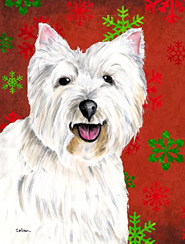 Caroline's Treasures SC9410GF Westie Red and Green Snowflakes Holiday Christmas Flag, Small, Multicolor
