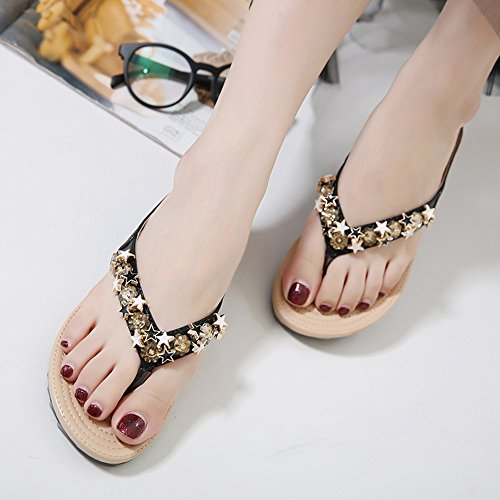 Material Black Sandals Women's Optional Summer Leisure Gold Personality Shoes PU Fashion Flat Rhinestone Feifei Slippers Black rOq4OwX
