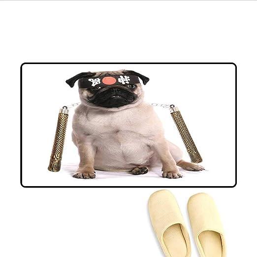 Alfombrilla de baño Hipster Pug con Gafas de Nerdy y Corbata de ...