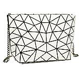 Orfila Holographic Envelope Clutch Bag Geometric Laser Leather Chain Shoulder Handbag Casual Crossbody Messenger Bag Purse Beige