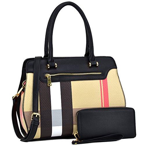Women Handbag 2 Pieces Set Leather Shoulder Bag Satchel Purse 2 in 1 Plaid Design Black