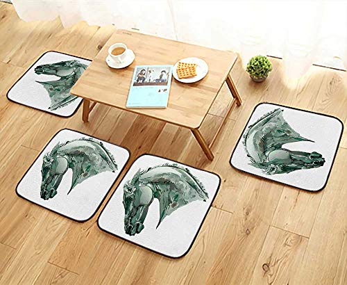 Luxurious Household Cushions Chairs Green Stain Horse Head with Mane Image Equestrian Camouflage Color Abstract Artwork Grey Soft and Comfortable W31.5 x L31.5/4PCS Set