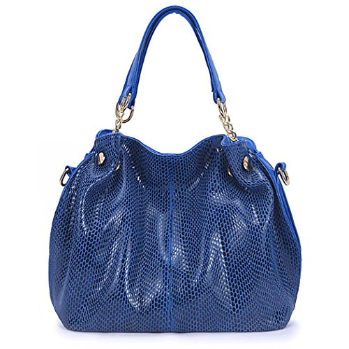 Bag Handle Handbags PU Women��s Casual Pattern Hobo Serpentine Leather Top Shoulder Bag Tote Blue Fanspack Purse wxzOIqq