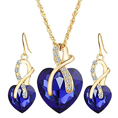 iLH® Clearance Deals Women Heart Crystal Rhinestone Silver Chain Pendant Necklace+ Earrings Jewelry Sets Romantic Gift by ZYooh