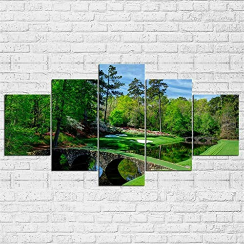 (Print Wall Art Decor Posters and Prints Modern Landscape 5 Piece Canvas Art Pictures Augusta Masters Golf Golfing Course Hole Water Modern Poster Painting Home Decor Poster with Framed Ready to Hang)