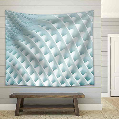 3d Blue Creative Building Concept Fabric Wall Tapestry