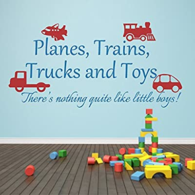 Nursery Wall Decal Playroom Quote Planes Trains Trucks and Toys Wall Sticker Baby Room Art Decor C(toys:Blue;words:White): Baby