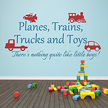 Nursery Wall Decal Playroom Quote Planes Trains Trucks And Toys Wall  Sticker Baby Room Art Decor Part 96