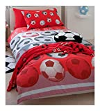 SOCCER RED WHITE TWIN BED QUILT COVER DUVET SET