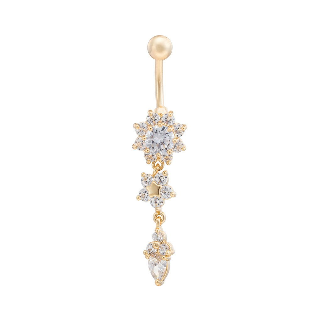 Fashion Women Body Piercing Jewelry 14G Hypoallergenic Stainless Steel Cubic Zirconia Belly Button Ring Navel Rings Crystal Flower Dangle Gold With Diamond White
