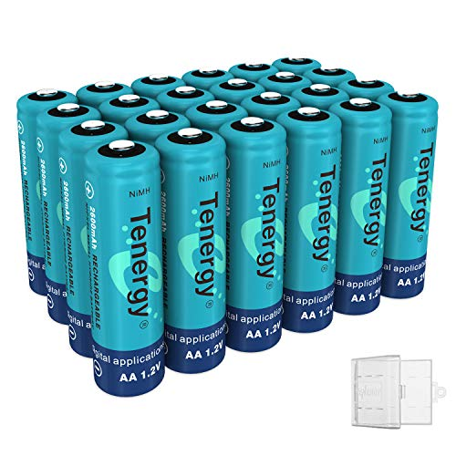 - Tenergy NiMH AA, 1.2V AA, High Capacity 2600mAh 24 Pack Double A Cell, Bonus 6 Battery Cases