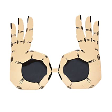 989397d0ba D.O.T Novelty Funny Party OK Gesture Finger Sunglasses Cosplay Props Unisex  Glasses-Gold