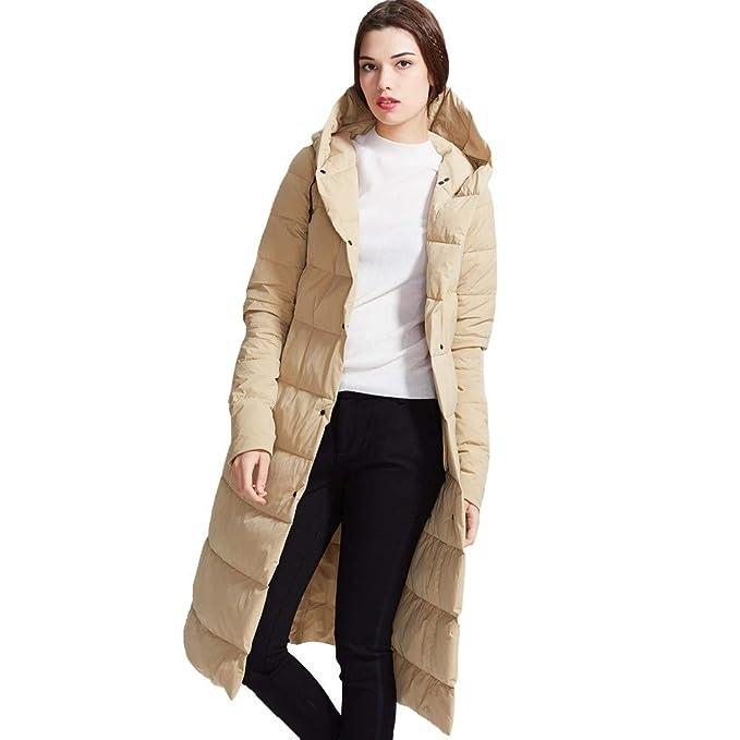 RSTJ-Sjc Abrigo de invierno Temperamento Abrigo de mujer Chaqueta de color sólido Encapuchado Diseño de estilo simple, Relleno de pato blanco: Amazon.es: ...