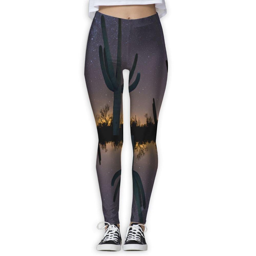 2e7efaaec4f04 Amazon.com: Women's Girl Desert Stargazing Space Catus High Waist Casual Leggings  Tights Yoga Pants Running Pants Stretchy Sport Pilates Workout Long ...