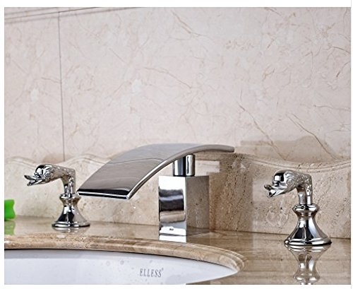 Gowe Bathroom Sink Faucet With Dual Handles Widespread 3pcs Waterfall Spout Mixer Tap Chrome Polished 1