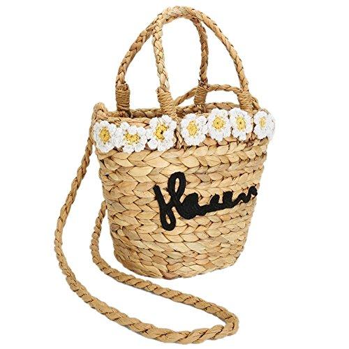Bag Shoulder Straw Woven Flower Summer Travel Bag Large Natural Shopping Crossbody Handbag Braided Chic Rattan Bag Basket Beach Retro xOtntAH