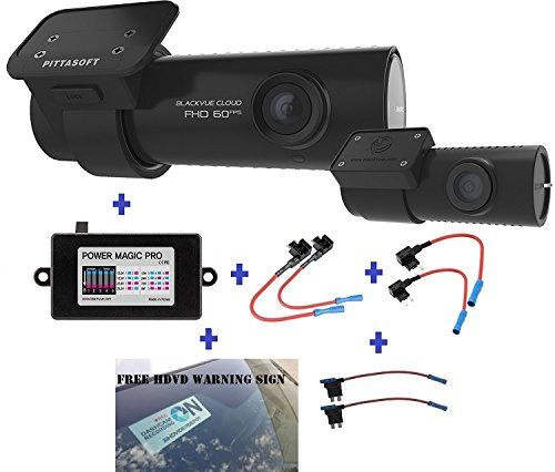 Warning Label Records (BlackVue DR750S-2CH 128GB, Car Black Box/Car DVR Recorder with Power Magic Pro, Built-in Wi-Fi, Cloud, 1080p Full HD, 60FPS, G Sensor, GPS, 128GB SD Card + Fuse tap + HDVD Warning Sign Included)