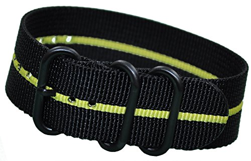 20mm Panatime Black Ballistic Nylon Nato Watch Band with Yellow Stripe and 3 PVD (Black) Rings 10.5