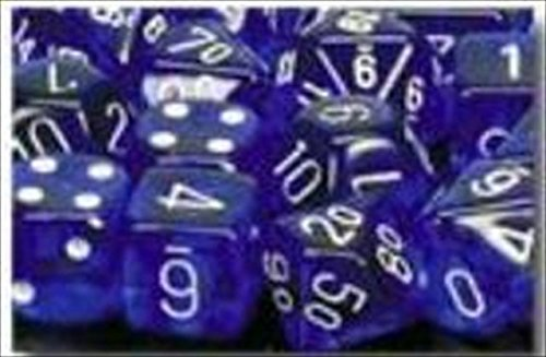 - Chessex Dice Sets: Blue with White Translucent - Ten Sided Die d10 Set (10)