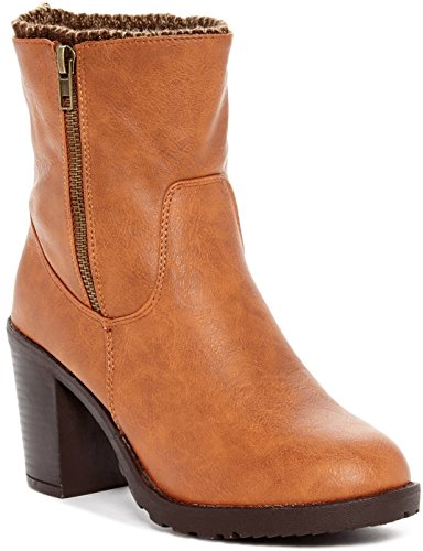 Carrini Ca Collectie Womens Fashion Knitting-lined Booties Cognac