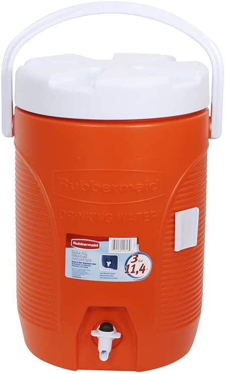 Rubbermaid 3GAL ORG WTR Cooler, 3-Gallon, Orange