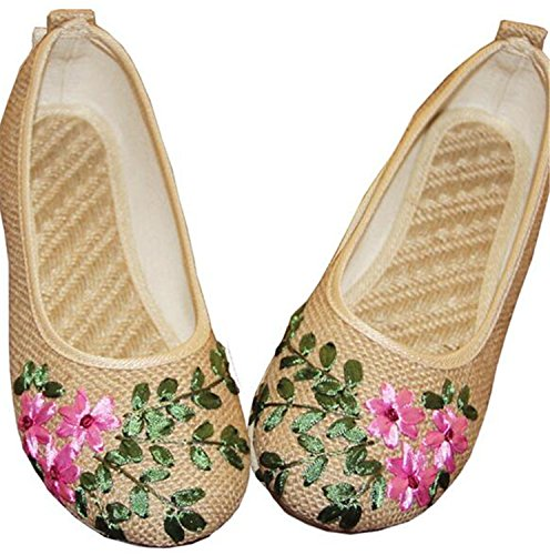 Flower Khaki Vintage Old On Embroidered Women Shoes 9 Cotton Flats Feminino Ballerina Linen Comfortable Kenavinca Slip Fabric Flat Sapato Peking 4 wAPIqFHHd