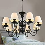 8-Light Black Wrought Iron Chandelier with Cloth Shades (A-2016-8) Review