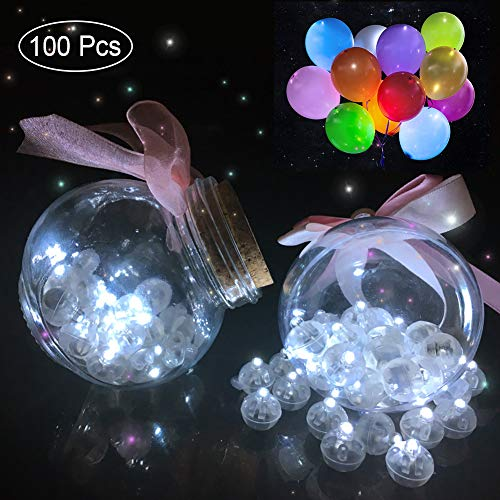 - 100pcs White LED Balloon Light,Round Led Flash Ball Lamp for Paper Lantern Balloon Party Wedding Decoration