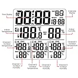 TEKCOPLUS Wireless Weather Station Thermometer with 3 Indoor Outdoor Sensor Wireless Clock Alarm Temperature Humidity Monitor Easy to Read Display with LED Back Lights