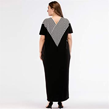 Cvbndfe Cómodo Vestido de la Raya de la Belleza de Las Mujeres Medio Oriente Loose Loe Gran tamaño de Las Mujeres túnica árabe Elegante (tamaño : XXXXL): ...