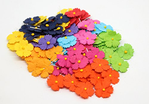 Brads Scrapbooking Embellishments - 70 Paper Flowers for Scrapbooking, Cardmaking, Wedding Decor, Favors (Bright Shades Flowers with Zigzag Petals)