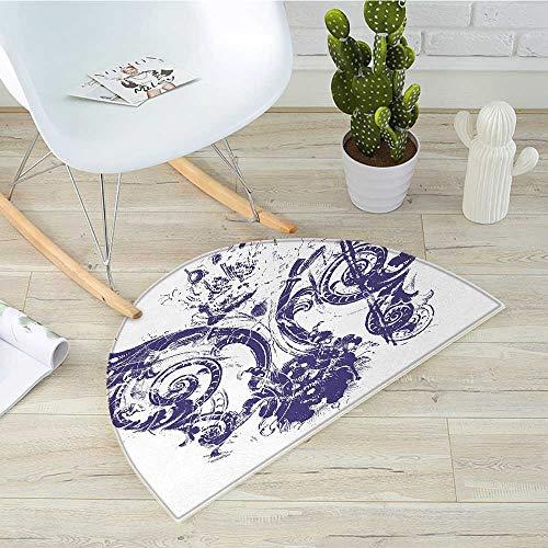 (Fleur De Lis Half Round Door mats Digital Grunge Lily Emperor Flag Victorian Kingdom Imperial Theme Print Bathroom Mat H 19.7