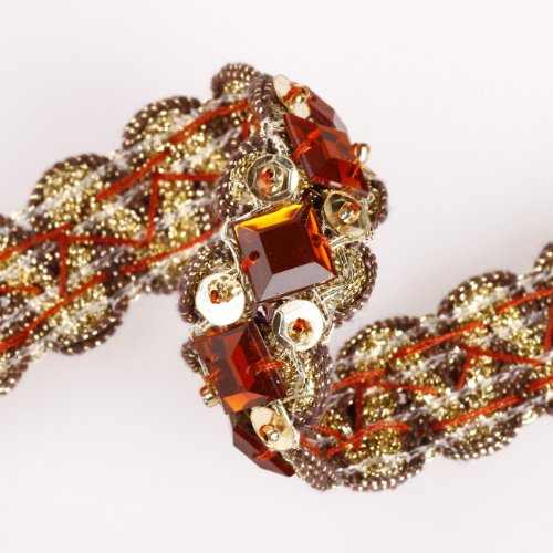 Stunning Ribbon Border with Crystals Embellished for Cocktail Eveningwear Outfit & Indian Sari, Salwar Kameez or Dress Making Crafts; Embroidery on Gold Metallic Ribbon with sequins and beads a Scalloped Edge Selvedge (Embellished Ribbon)