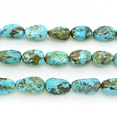 (Bluejoy Genuine Natural American Turquoise Nugget Bead 16 inch Strand for Jewelry Making)